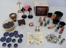 Lot Vtg Dollhouse Miniatures TeaSet Herbs Wine Cookies Picnic Silverware Candles