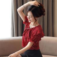 New Fashion Women Lace Up Chiffon T Shirt Ladies Summer Short Sleeve Blouse Tops