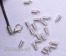150pcs silver color Coil End Crimp Fasteners 7x3mm MH310