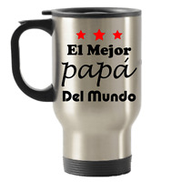 Best Dad Travel Mug Stainless Steel Tumbler with Handle Spanish Gift Fathers Day