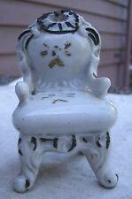 Vintage Fancy Chair Figurine white china painted accents 1950s Japan furniture