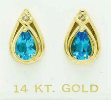 GENUINE 2.64 Cts BLUE TOPAZ & DIAMOND STUD EARRINGS 14K GOLD * Free Shipping *