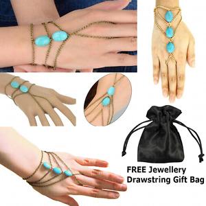 Turquoise Gem Charm Tassel Slave Bracelet Bangle Finger Ring Harness Hand Chain