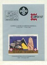 St Lucia 1986 Scouts Scott 823-4 Set of IMPERF CAPEX/ Jamboree Souvenir Sheets