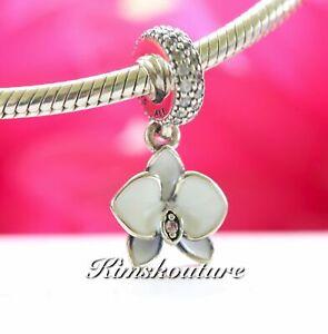 Authentic Pandora Silver Dangle Orchid White Enamel & CZ Bead 791554EN12 **NEW**