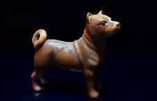 Japanese Antique Boxtree Woodcarving Dog Small Figurine Edo Era