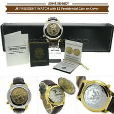 US President JF KENNEDY 1 Dollar Coin Watch Japan Movement with Date & Cover PW1