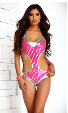 Pink Silver Panarea Swimsuit Metallic Monokini Bathing Suit by Forplay L 10-12