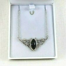 Lab-Created Black Onyx Baroque Inspired Solid Sterling Silver Necklace