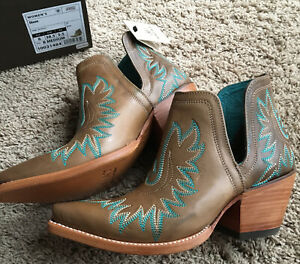 Ariat Women Ash Brown w Turquoise Dixon Leather Cowgirl Handcrafted Bootie NEW 8