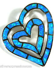 High Quality Blue Fire Opal Inlay 925 Sterling Silver Heart Pendant For Necklace