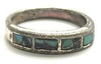 Vintage Oxidized Sterling Silver Crushed Turquoise Inlay 5 mm Band Cocktail Ring
