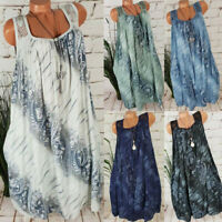 Plus Size Women Summer Back Lace Sleeveless Tank Dress Party Beach Maxi Dress