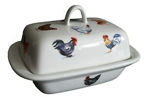 Colourful Cockrels, Chicken porcelain deep white butter dish different chickens