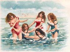 Vintage Decorative Victorian/Edwardian Beach/Seaside Scenes Colourful A4 Print40