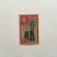 CEYLON 1938 George VI 2c Def perf 13.5x13 sg386a lhm cv circ £120 (K279)