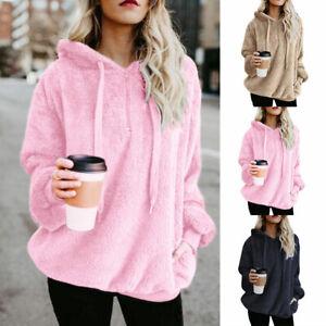 Hooded Sweatshirt Women Loose Soft Casual Fleece Winter Jumper Pullover PlusSize