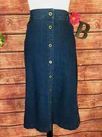 Laura Scott Skirt size 12 Denim Jean Button Front Calf Midi A Line Modest Casual