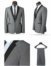 2017 Gray Custom Best Men Groom Tuxedo Black Peak Lapel Jacket Wedding Suits