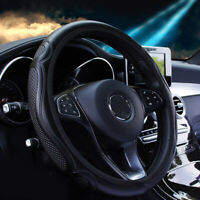 1x Auto Car Steering Wheel Cover Black Leather Breathable Anti-slip For 37-38CM