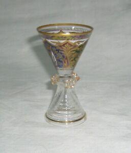ANTIQUE FRITZ HECKERT JODHPUR ENAMELED GLASS PRUNTED SMALL CORDIAL ~ SHOT GLASS