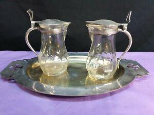 AQUA et VINO Messpollen A V Karaffen  auf Tablett Wasser Wein versilbert Glas