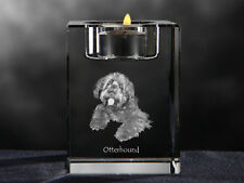 Otterhound, crystal candlestick with dog, souvenir, Crystal Animals Usa