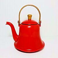 Vintage Enamel Ware Red Bell Teapot Coffee Wood Handle Enamelware Farm Cottage