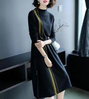 Women's Long-sleeved Slim Fit Knitted Autumn Winter Turtleneck Slim Long Dresses