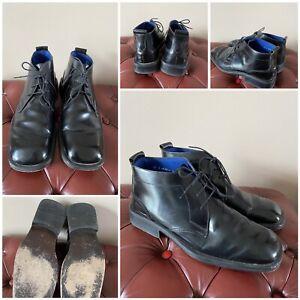 mens jeff banks leather upper ankle boots lace up black eur 42 uk 8