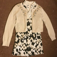 Kc Parker Ivory Dress & Sweater Set w/ Stones & Sequins- Girls Size 7 -Must See!