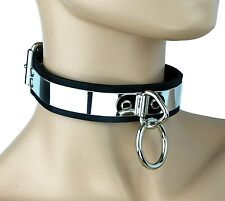 Metal Bondage Leather Choker O Ring Sexy Collar Fetish Punk Goth Necklace