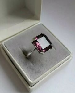 Antique Art Deco Amethyst Paste STERLING SILVER Ring. Size N 1/2.