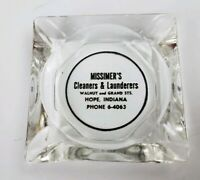 Vintage Missimer's Cleaners & Launderers Hope Indiana Clear Glass Ashtray