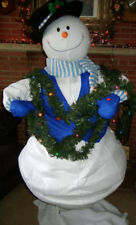 """ANIMATED LIFE SIZE 5 FOOT 6"""" CHRISTMAS SNOWMAN in TANGLED LIGHTS SINGS and MOVES"""