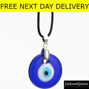Eye Necklace nazar Evil Pendant Turkish Gift Charm Blue Lucky Gold Choker corded