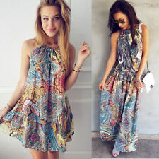 Women Boho Floral Print Sleeveless Maxi Mini Dress Beach Cocktail Party Sundress