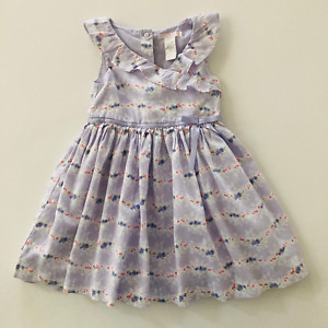 Janie and Jack 2T Toddler Girl Lavender Floral Dress Ruffled Lined Summer Spring