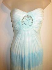Sky Clothing Brand XS Maxi Dress Bright Blue Tie Dye Pattern Knit Crochet FLAWED