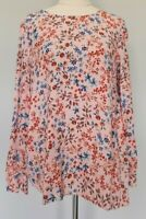 Sussan Size 8 Casual Pink Floral Relaxed Fit Round Neck Long Sleeve Blouse