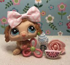 Authentic Littlest Pet Shop # 2425 Apricot Tan Labradoodle Dog Non Us Rare W Bow