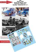 DECALS 1/12 REF 508 ALPINE RENAULT A110 DARNICHE RALLYE DU MAROC 1974 RALLY WRC