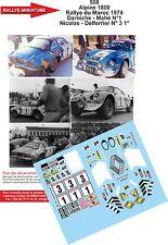 Decals 1/18 ref 508 Alpine Renault A110 Darniche Rallye du Maroc 1974 Rally WRC