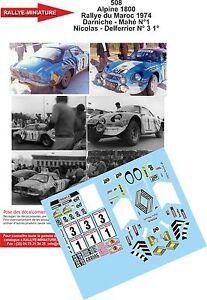 Decals 1/16 Ref 508 Alpine Renault A110 Nicolas Rally Of Morocco 1974 Rally WRC