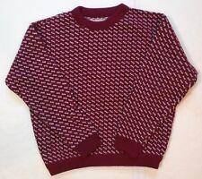 LL BEAN Vintage Wool/Rayon Large Red Birdseye Norwegian Sweater Crewneck Norway