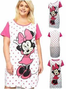Womens Ladies Disney Nightshirt Nightwear 100% Cotton Minnie Mouse Short Sleeve