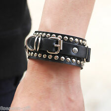 2017 Unisex Punk Rock Leather Strap Rivet Metal Buckle Cuff Bracelet