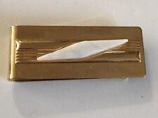 Metal White Diamond Accent Mid Century Vintage Mens Money Clip Gold Tone