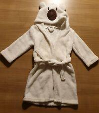 Baby Bademantel Kinder weiß/creme mit Kapuze Teddybär Gürtel 0-6 Monate 50-68