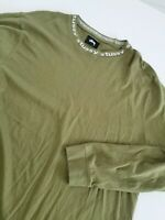 VINTAGE Stussy  Long Sleeve Shirt W/ Stussy COLLAR Spellout on Neck Sz XL GREEN